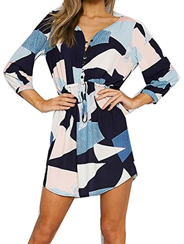 Women's V Print Dress As Floral Pattern Jaycargogo Sleeve Long Neck Sexy Picture Mini Casual Geometric ZTnqwd