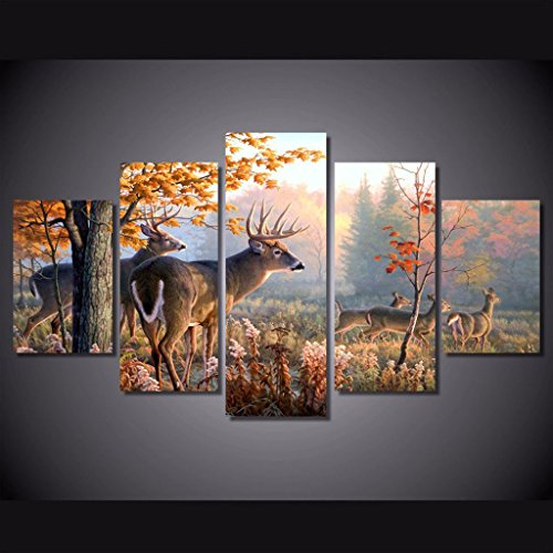 [LARGE] Premium Quality Canvas Printed Wall Art Poster 5 Pieces / 5 Pannel Wall Decor WhiteTail Deer Painting, Home Decor Pictures - With Wooden (Deer Canvas)