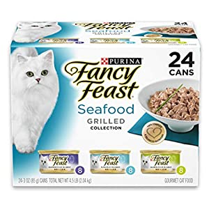 Purina Fancy Feast Gravy Wet Cat Food Variety Pack, Seafood Grilled Collection – (24) 3 oz. Cans