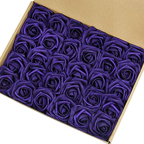 Marry Acting Artificial Flower Rose, 30pcs Real Touch Artificial Roses for DIY Bouquets Wedding Party Baby Shower Home Decor ... (Darker Purple) ()