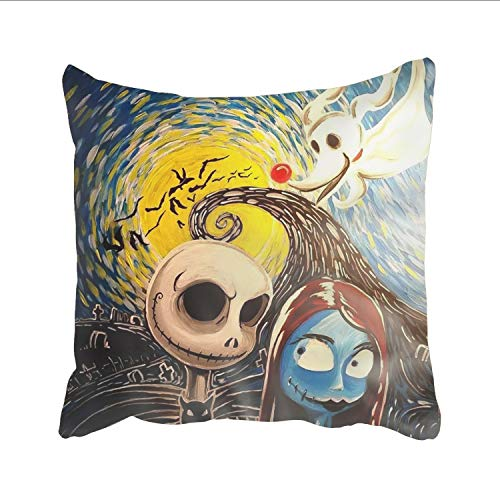 Ranhkdn Decorative Throw Pillow Covers Nightmare Before Christmas Cushion Covers 18 x 18 inch ()