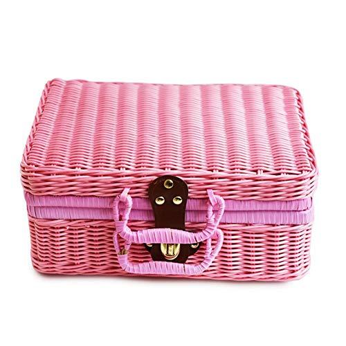 triumth 29x22x14cm Classic Wicker Hamper,Wicker Suitcase,Wicker Picnic Basket Rattan Handmad Storage Box,Vintage Basket ravel Suitcase for Outdoor,Camping (Suitcase Vintage Wicker)