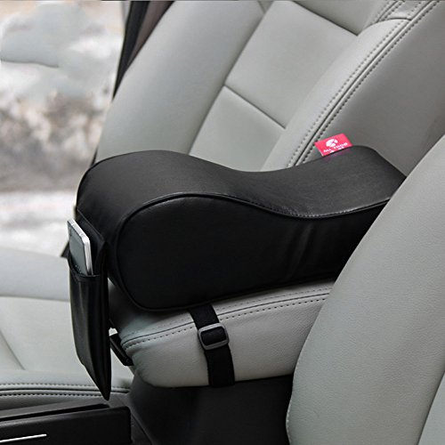 ChiTronic Premium Car Center Console Armrest Cushion PU Leather & Memory Foam Pad - Black (Cushion Washer)