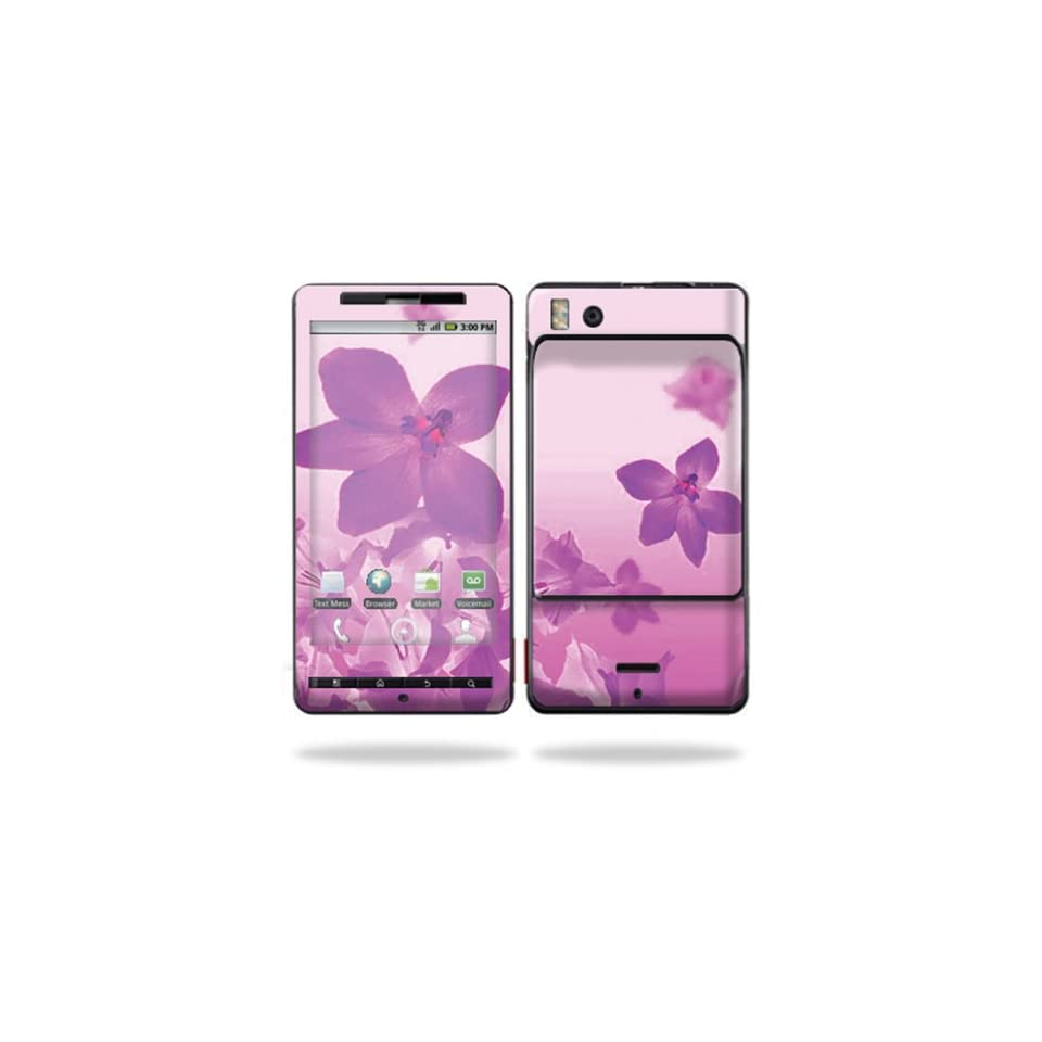 Protective Vinyl Skin Decal Cover for Motorola Droid X (MB 810) or X2 (MB 870) Cell Phone Sticker Skins  Pink Flowers
