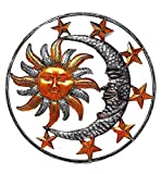 Large Metal Sun Moon Star Wall Art Sculpture Decor for Indoor Outdoor (17' Diameter)