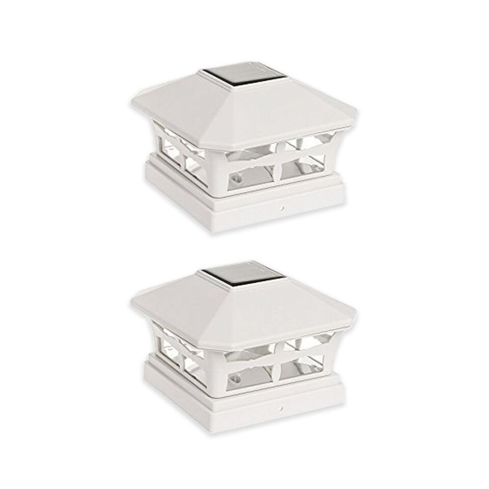 StonyCreek Two (2) Pack Solar Powered Square Outdoor Post Cap Light for 5x5 PVC Posts (Off White)