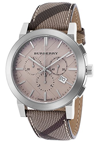 BURBERRY Men's BU9361 Smoke Check Strap/Brown Stainless Steel - Burberry Trench Mens