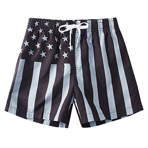 Freshhoodies Big Boys Swim Trunks American Flag Lightweight Swimming Shorts Black Striped Quick Dry Beach Board Shorts Independence Day Casual Summer Shorts for Kids 10-12t