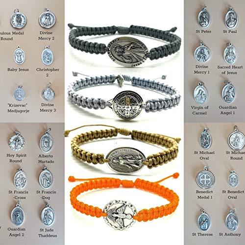 - Adjustable Woven Catholic All Saints Medal Bracelet Mens Womens Kids Custom Religious Gift