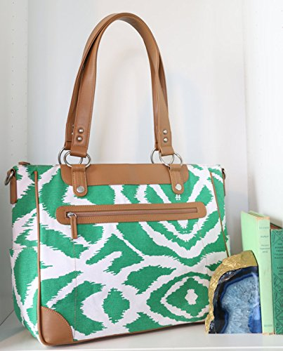 kailo-chic-laptop-camera-ipad-bag-emerald-green-ikat-and-tan-trim