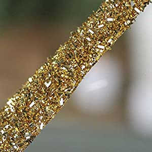 Factory Direct Craft Group of 6 Gold Glitter and Tinsel Artificial Fern Frond Picks for Embellishing Florals, Centerpieces, and More 2
