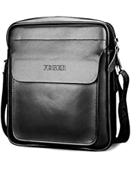 Mens Leather Shoulder Bags Travel Bag Messenger Bag Cross Body Bag for Office Business (Black S)