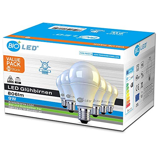 Bioled 9W, Lot de 20, Blanc Froid (6400K), Ampoule LED Globe A60 Culot E27, 9 Watt (équivalent ampoule incandescentede 100W) Ampoule Sphérique, Dépolie lampe led, Angle du faisceau 270°, Non-Dimmable