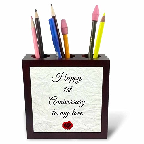3dRose ph_221892_1 Happy 1st Anniversary to My Love on Faux Paper-Like Background Tile Pen Holder, 5'' by 3dRose