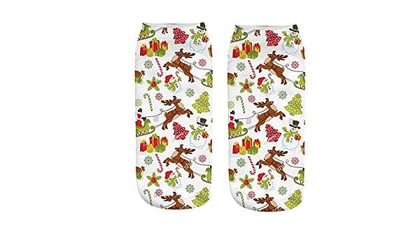 Newdiva Clearance Unisex Christmas Socks Cute 3D Printed Christmas Casual House Socks Ankle Socks Xmas Gift Women Girl Boy Christmas Decorations Snowman Santa Pattern Multicolor