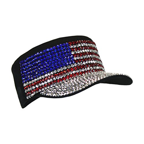 Black USA Bling Military Cap, Sparkle Rhinestone American Flag Hat, Adjustable ()
