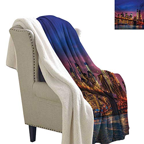 Sunnyhome New York Lightweight Fluffy Flannel and Sherpa Blanket 60x47 Inch NYC That Never Sleeps Reflections on Manhattan East River City Image Photo Print Life Comfort Throw Blanket Pink Blue ()