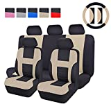 CAR PASS - 14PCS Max Automobile Seat Covers Set Package-Universal fit for Vehicles Blackwith beige With Composite Sponge Inside,Airbag Compatiable (beige)