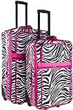 Zebra Print Two Piece Rolling Luggage Set