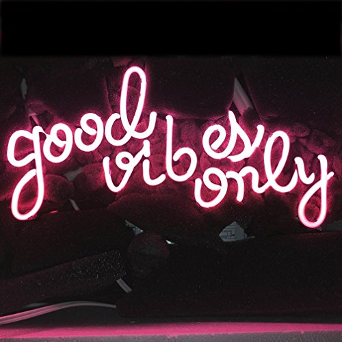(LiQi ' GOOD VIBES ONLY' Real Glass Handmade Neon Wall Signs for Home Decor Wall Light Room Decor Home Bedroom Girls Pub Hotel Beach Cocktail Recreational Game Room (14