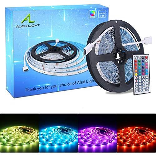 chollos oferta descuentos barato ALED LIGHT Tiras LED 5050 RGB 5m de Longitud 150 LED Multicolor Control Remoto de 44 Botones y Fuente de Alimentación