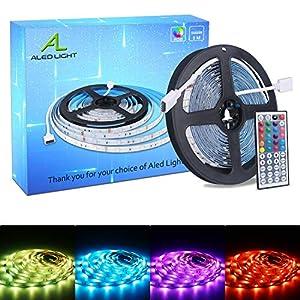ALED LIGHT Tiras LED 5050 RGB 5m de Longitud 150 LED Multicolor Control Remoto de 44 Botones y Fuente de Alimentación 51sazQ PanL