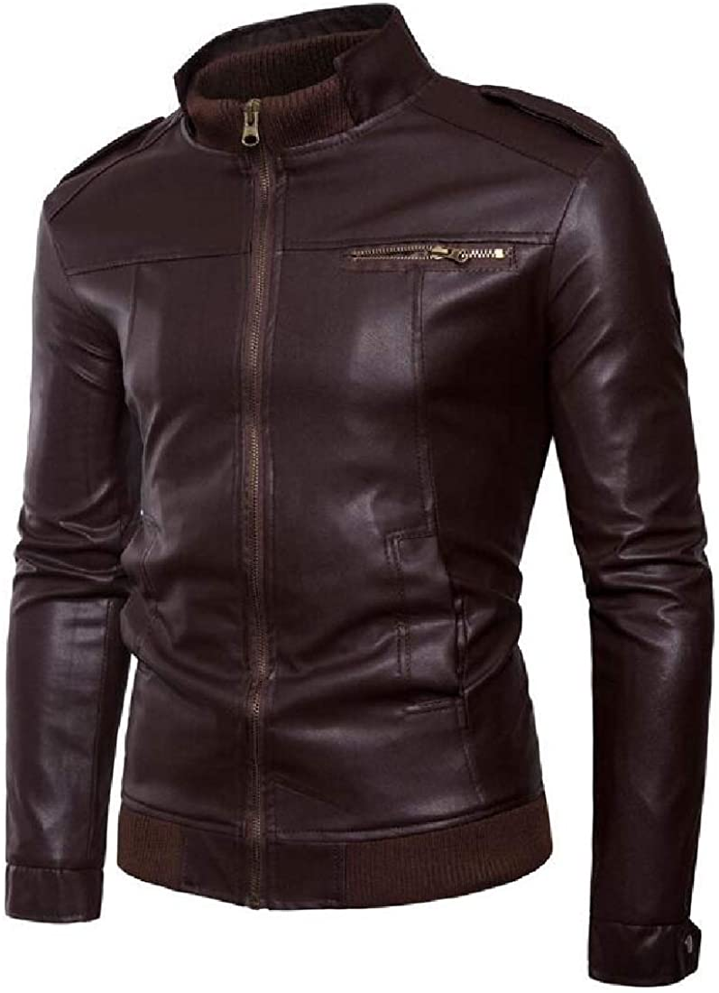 XQS Men Leather Jacket Stand Collar PU Mes Faux Fur Coats Motorcycle Jacket
