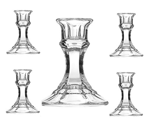 Chefcaptain Candlesticks Holder Clasic Crystal Cut Glass 4 ()