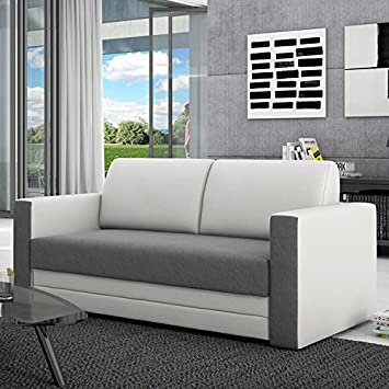 Innocent Schlafsofa 120cms Kunstleder Textile Grey White Extension