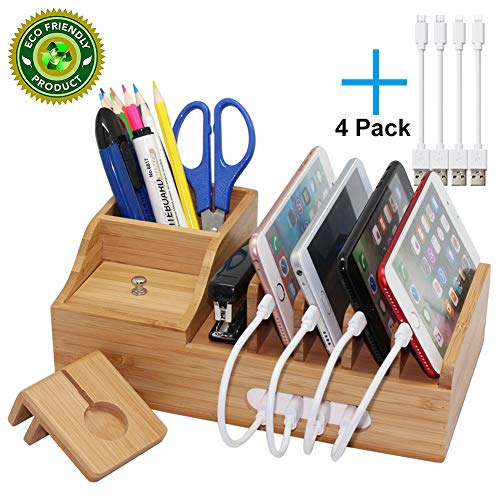 Pezin & Hulin Bamboo Charging Station, Multiple Devices Organizer for Phones,Tablet, Office Desktop Wooden Docking Stations (Include 4 x Charger Cable), Storage Box Stand for Pen, Key, Remote