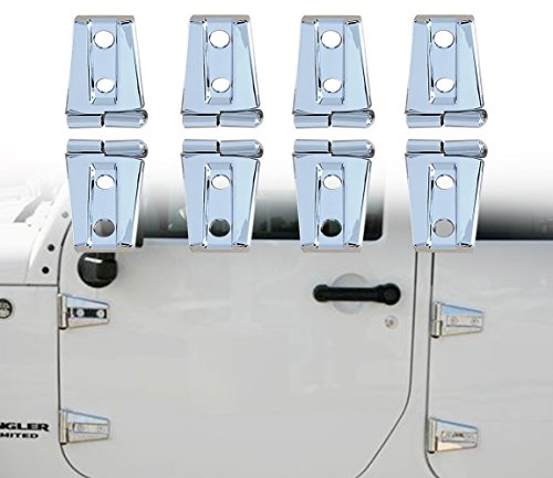 4 Door Hood - TOPNEW Chrome Door Hinge Covers Molding Trim Hood Hinge Kit for 2007-2016 Jeep Wrangler JK Unlimited 4 Door-8 Pcs