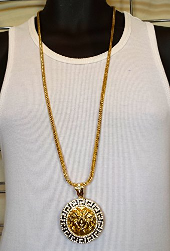 New Mens Iced Out Round Medallion Medusa Pendant Gold Franco Chain 36