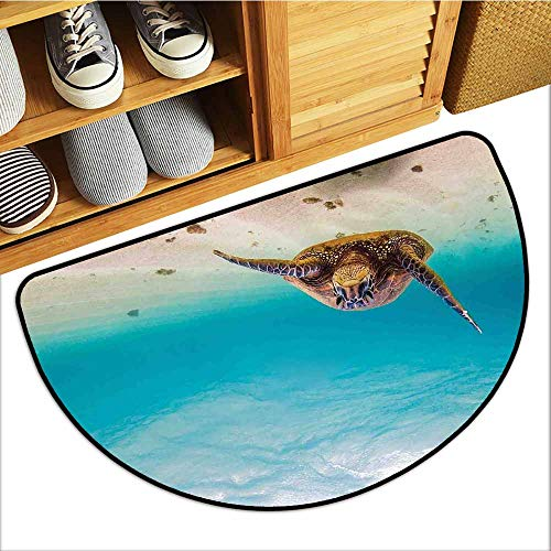 All-Natural Rubber Doormats, Hawaiian Doormats for High Traffic Areas, Underwater Scuba Diving Sea Turtle Nature Animal Swimming Wildlife Theme (Blue Beige Brown, H24 x D36 Semicircle) (The Diving Bell And The Butterfly Themes)