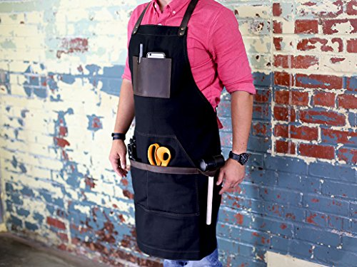 Black Work Apron in Non-Waxed Canvas with Cross Straps Adjustable for Most Waist Sizes for Men Women Vintage Heavy Duty Apron for Butcher, Barber, Metal Working by OleksynPrannyk (Image #2)