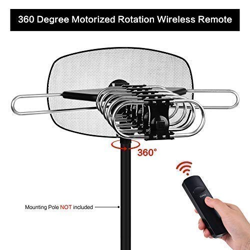 Mesqool Outdoor Amplified FHD Digital TV Antenna, 360 Degree Motorized Rotation with Wireless Remote Control, 150 Miles Range VHF/UHF Channels Reception, Support 2 TVs