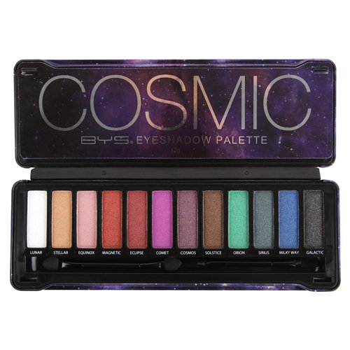 BYS Cosmic Eyeshadow Palette Tin with Mirror & Applicator 12 Shades Shimmer Unicorn Bold Bright Neon Galaxy ()