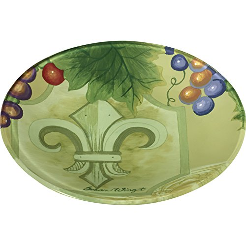 Ne'Qwa Art 7171209 Hand Painted Round Glass Fleur De Lis Vines Plate, 6.25-inches, (Vine Round Serving Plate)