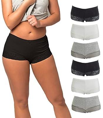 Emprella Cotton Underwear Women, 6 Seamless Womens Boy Shorts Lace Panties Slip Shorts