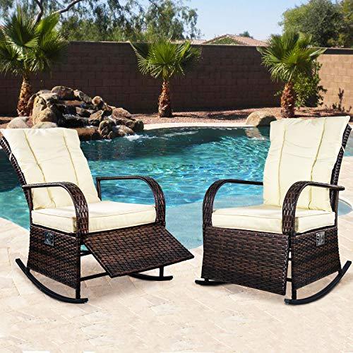(ENSTVER Set of 2 Indoor & Outdoor Reclining Chair-Porch Garden Lawn Deck Wicker Rocke Chair-Auto Adjustable Rattan Sofa w/Cushion (Beige-White Cushion))