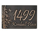 Bamboo Address Plaque - 16x10.5 - Raised Bronze Metal Coated