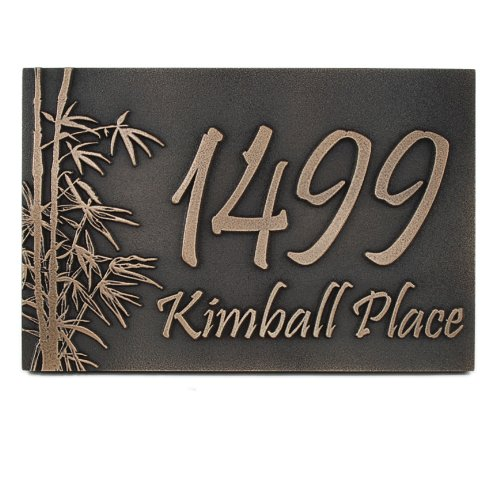 Bamboo Address Plaque - 16x10.5 - Raised Bronze Metal Coated by Atlas Signs and Plaques