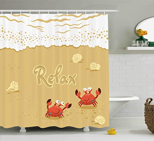 Crabs Decor Shower Curtain by Ambesonne, Funny Summer Card with Cute Crabs on the Beach Holiday Theme Print, Fabric Bathroom Decor Set with Hooks, 70 Inches, Sand Brown and (Funny Crab)