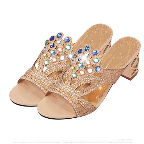 Tacco Moda Beautyjourney Donna Medio Estate Con Gioiello Scarpe Estive Eleganti Zeppa Oro Sandali Elegant g77w5qW8SB