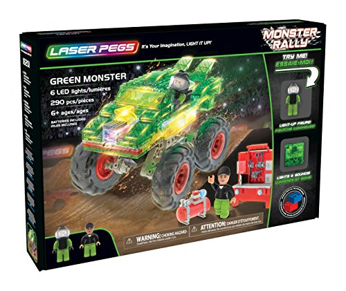 Laser Pegs Green Monster Light-Up Building Blocks Playset (290 Piece) The First Lighted Construction Toy to Ignite Your Child's Creativity; It's Your Imagination, Light It Up -