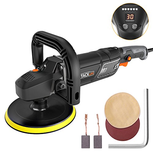 "7""/9"" Polisher, Tacklife 12.5Amp 1500W Variable Speed Buffer/Waxer with Digital Screen & LED Indication, Soft Start, 10Ft Power Cord, Detachable Handle, Sanding & Wool Disc, Ideal for Car Polishing by TACKLIFE"