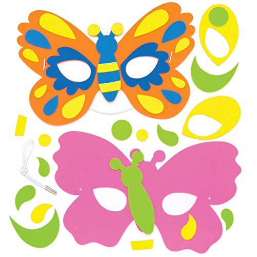 Baker Ross Butterfly Foam Mask Kit (Pack of 4) Assorted Butterfly Masks for Kids to Wear at Party's or Dressing Up
