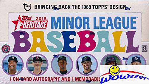 2018 Topps Heritage Minor League Baseball HUGE Factory Sealed HOBBY Box with TWO(2) AUTOGRAPH/MEMORABILIA Cards! Absolutely Loaded with The Best Young Baseball Future Superstars in the Game! WOWZZER! ()