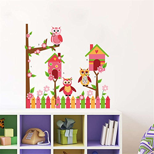 "BIBITIME Flowering Tree Built Bird House Flower Garden Fence Wall Border 3 Owls Vinyl Decal for Nursery Children Bedroom Home Art Mural DIY 32.28"" x 31.88"" from BIBITIME"