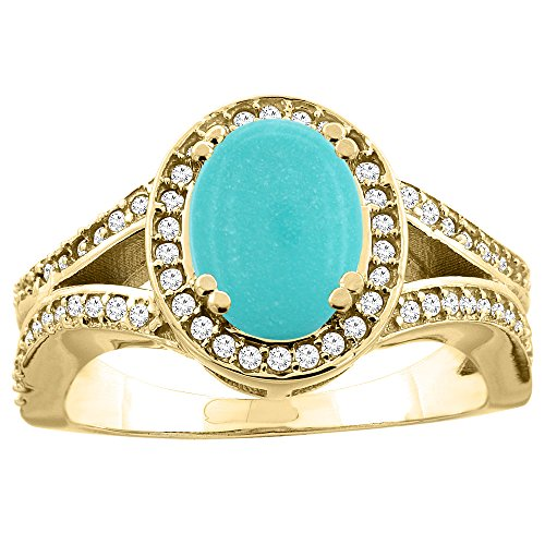 (14k Yellow Gold Diamond Halo Genuine Turquoise Ring Split Shank Oval 8x6mm, size 8 )