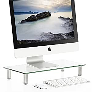 FITUEYES Glass Monitor Riser Laptop TV Stand with Adjustable Leg 51x24cm DT105001GC